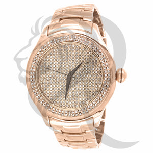 49MM Round IcedOut Dial Plain Rose Techno Pave Watch