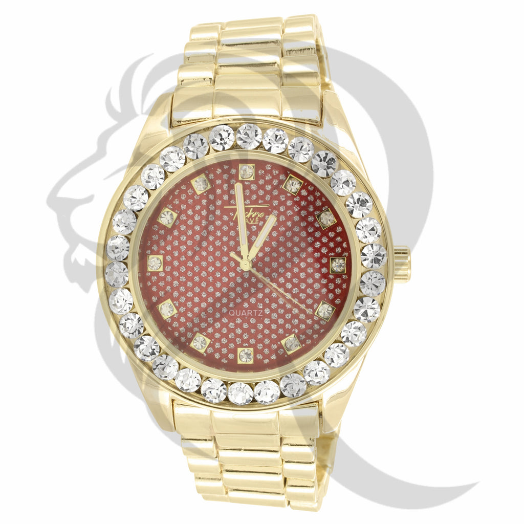 46MM Solitaire Red Illusion Dial Plain Presidential Men's Watch