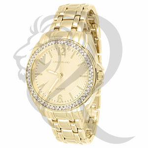 36MM Plain Yellow IcedOut Face Milano Watch