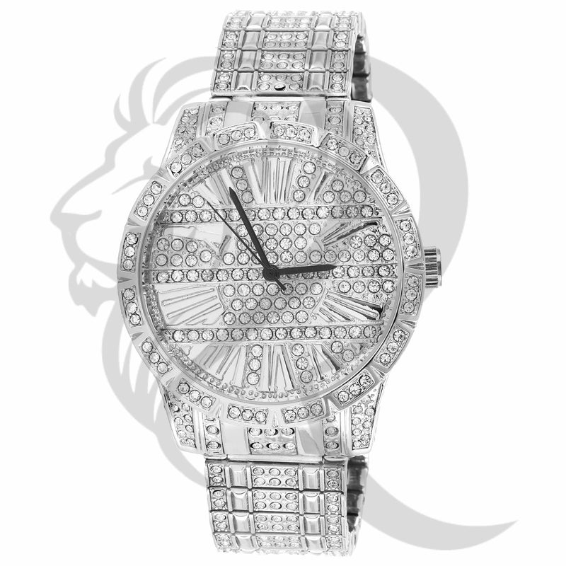 41MM White Gold Tone IcedOut Face Techno Pave Men's Metal Watch