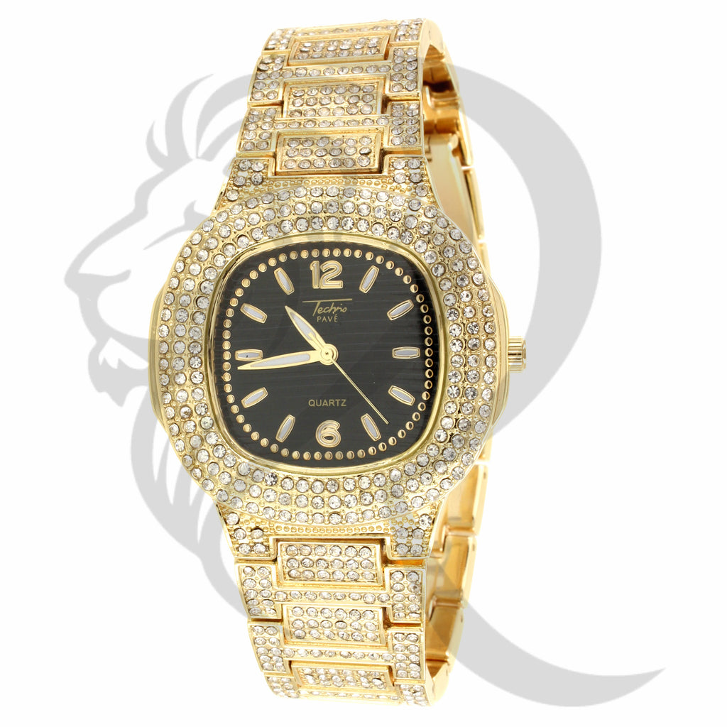 39MM Black Face Yellow Gold Tone IcedOut Techno Pave Watch