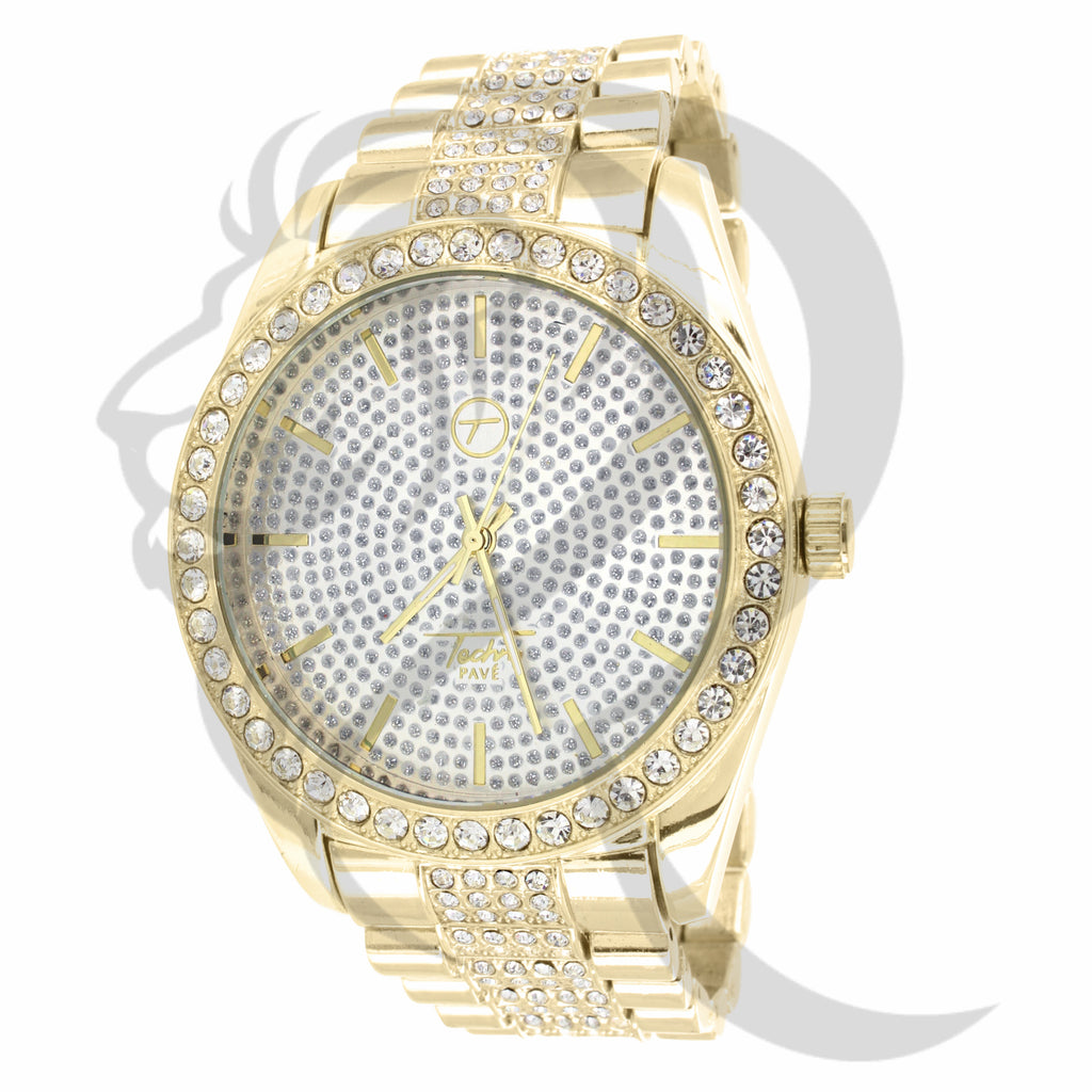 45MM Yellow Gold Men's Techno Pave Watch