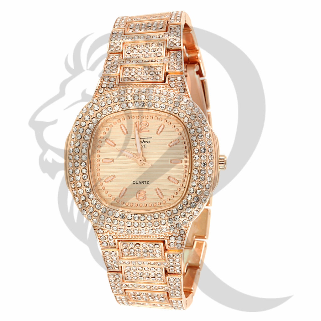 Rose Tone 39MM Small Face Techno Pave IcedOut Watch
