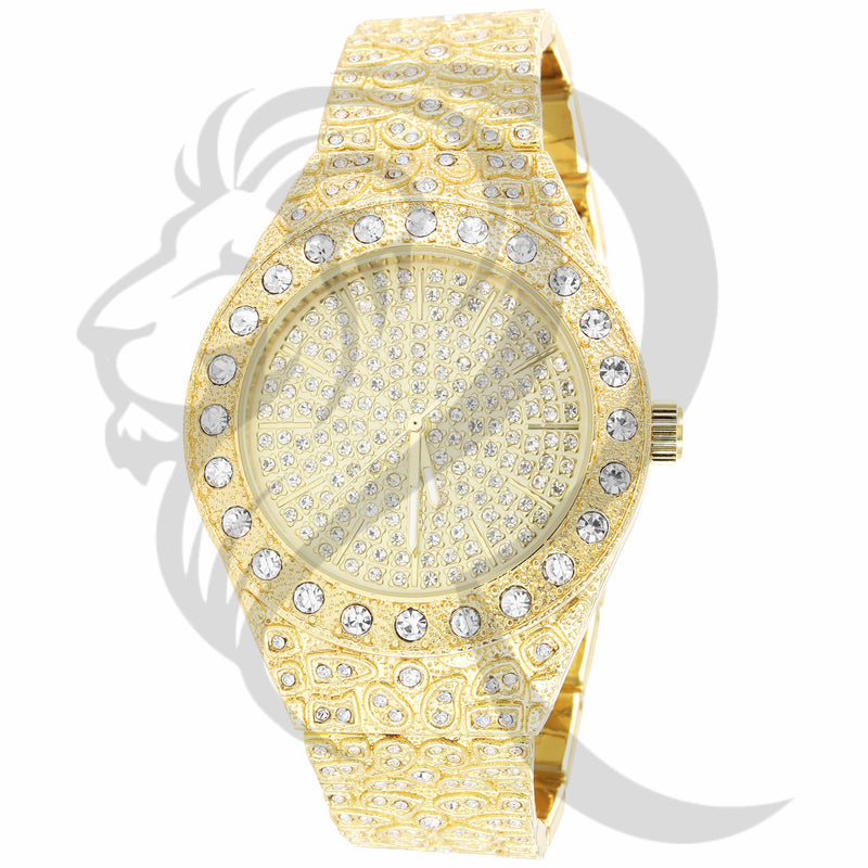 43MM Solitaire Round Fully IcedOut Nugget Band Metal Watch