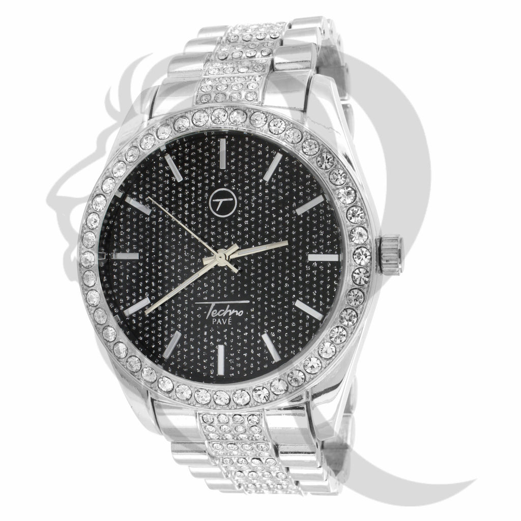 Black & White IcedOut Techno Pave Watch