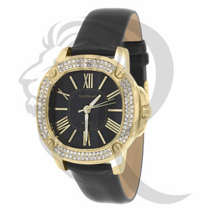 38MM Yellow IcedOut Face Black Leather Band Watch
