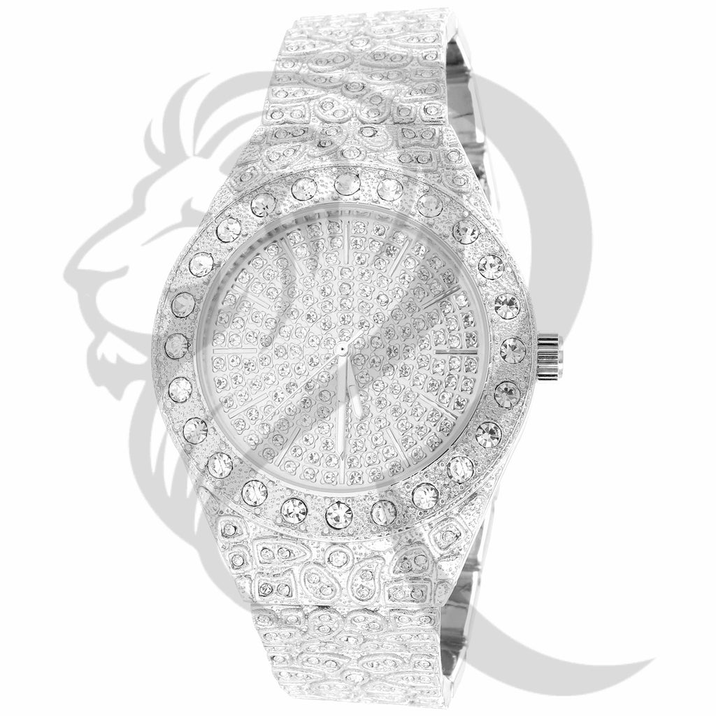 43MM Solitaire IcedOut Dial Nugget Style Band Techno Pave Watch