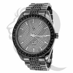 45MM All Black Gold Black Stones Watch