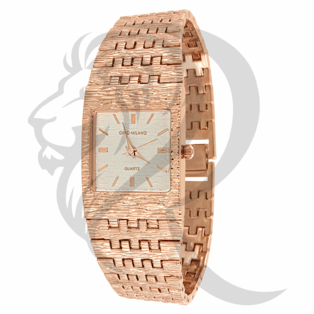 24MM Plain Rose Gold Tone Gino Milano Watch