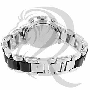 Black and White Band IcedOut Watch