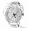 49MM Round IcedOut Face Plain White Metal Band Watch