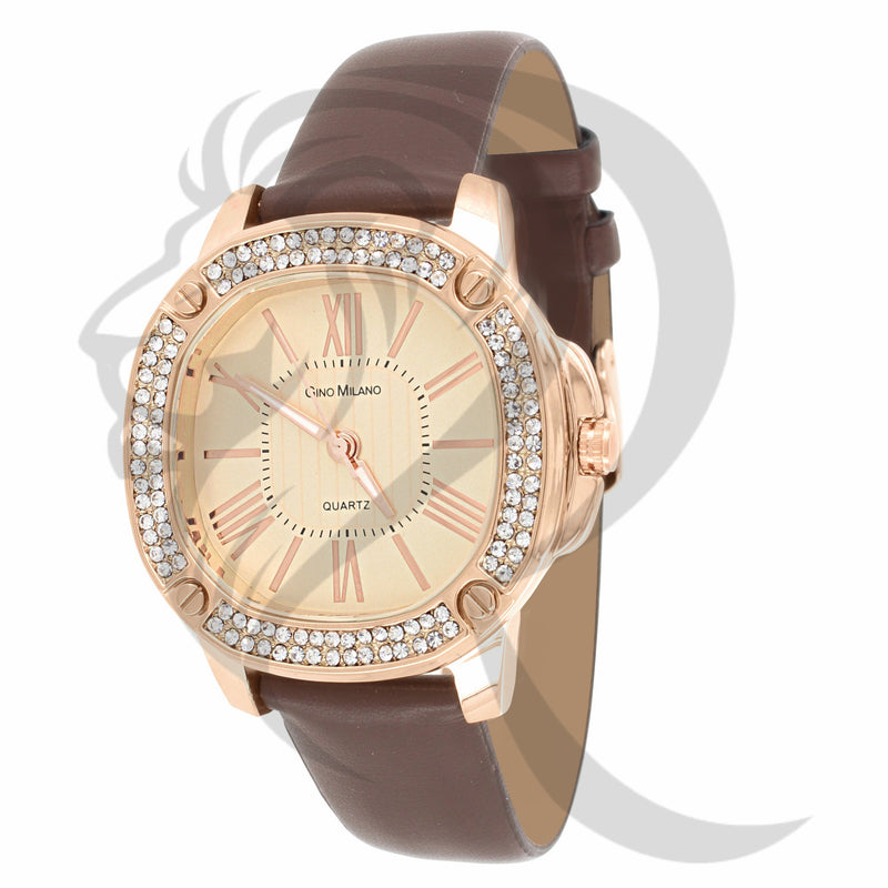 IcedOut Face 38MM Roman Numeral Dial Gino Milano Watch