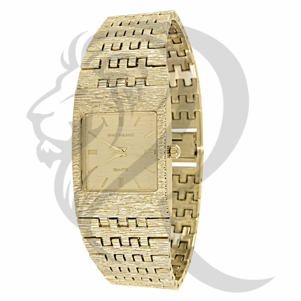 24MM Textured Plain Yellow Milano Ladies Watch
