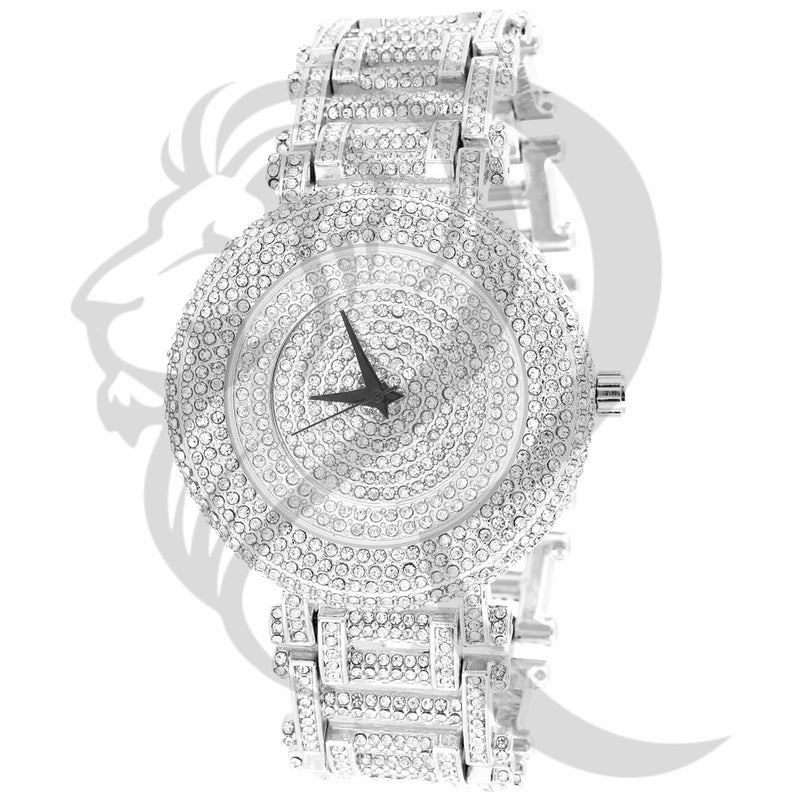 43MM Plain Fully IcedOut Face Links Techno Pave Metal Watch