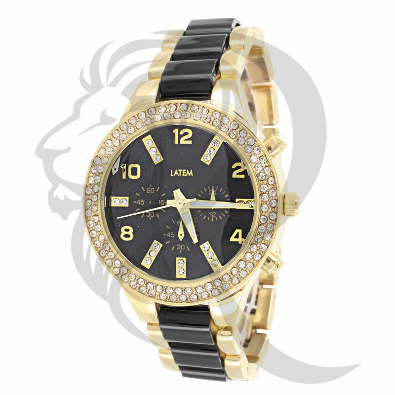Black & Gold 2 Row Icedout Watch