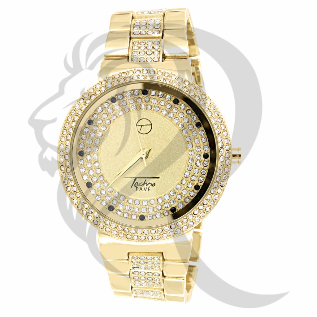 IcedOut 45MM Yellow Techno Pave Watch