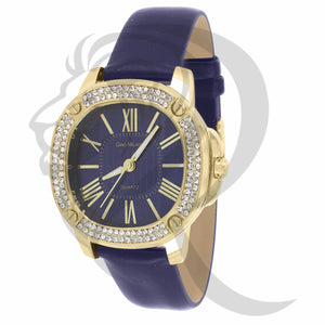 38MM IcedOut Bezel Blue Dial Leather Band Milano Watch