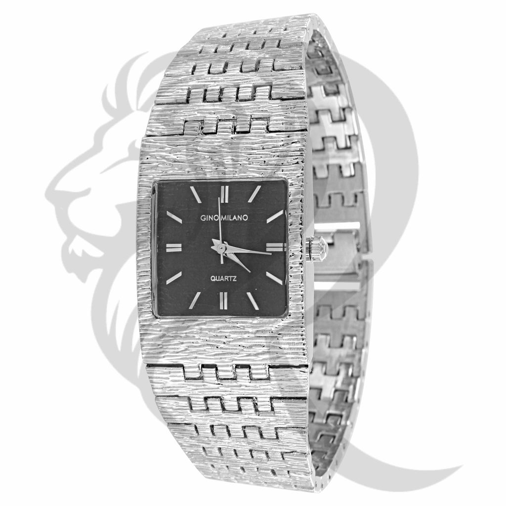 Black Face 24MM Plain White Band Textured Metal Watch