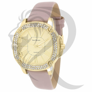 38MM Yellow IcedOut Face Pink Leather Band Watch