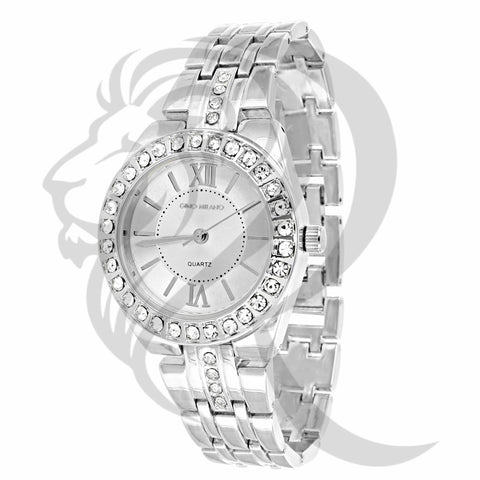 34MM White Gold Tone Milano Watch