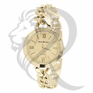 Yellow Dial Cuban Link Band Watch