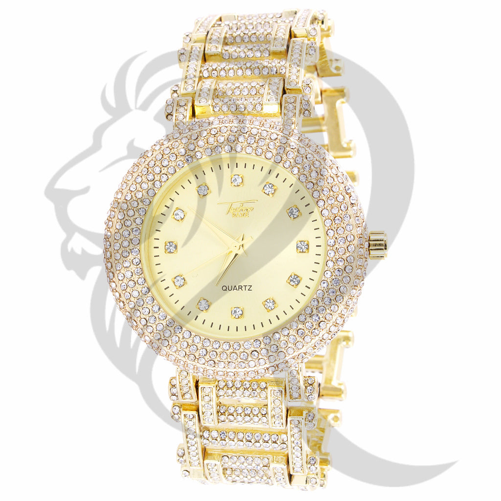 43MM Yellow Dial Round Face IcedOut Links Techno Pave Quartz Watch