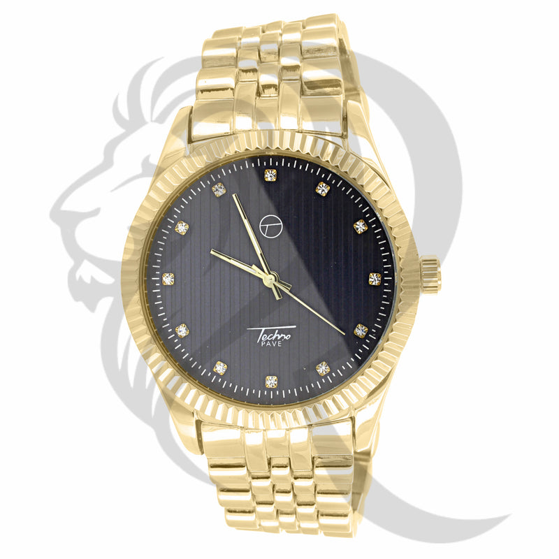 Black & Yellow Gold Plain 45MM Men's Watch