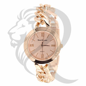 31MM Rose Gold Cuban Link Band Watch