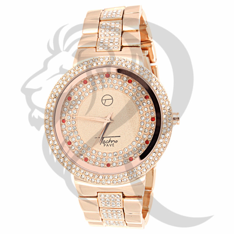 Rose Gold Red & Clear Stones 45MM Dial Watch