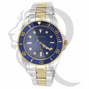 42MM Blue Dial Coin Edge Two-Tone Luxury Look Metal Watch