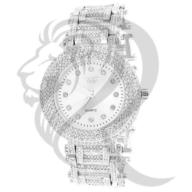 43MM White Dial Fully IcedOut Men's Metal Band Techno Pave Watch