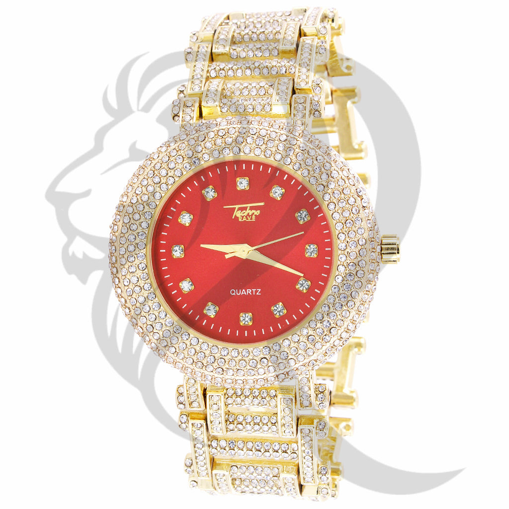 43MM Red Dial Round IcedOut Face Links Metal Band Men's Watch