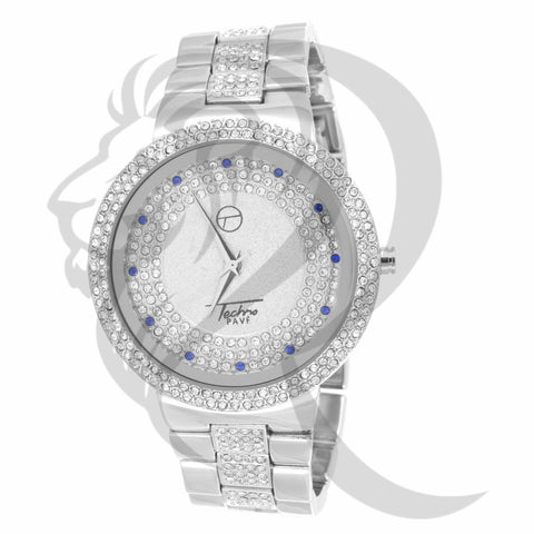 White Gold Finish IcedOut Men's Watch