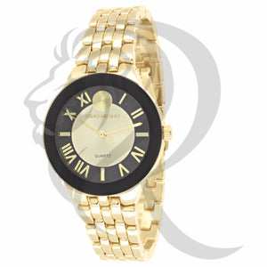 34MM Black Yellow Dial Plain Watch
