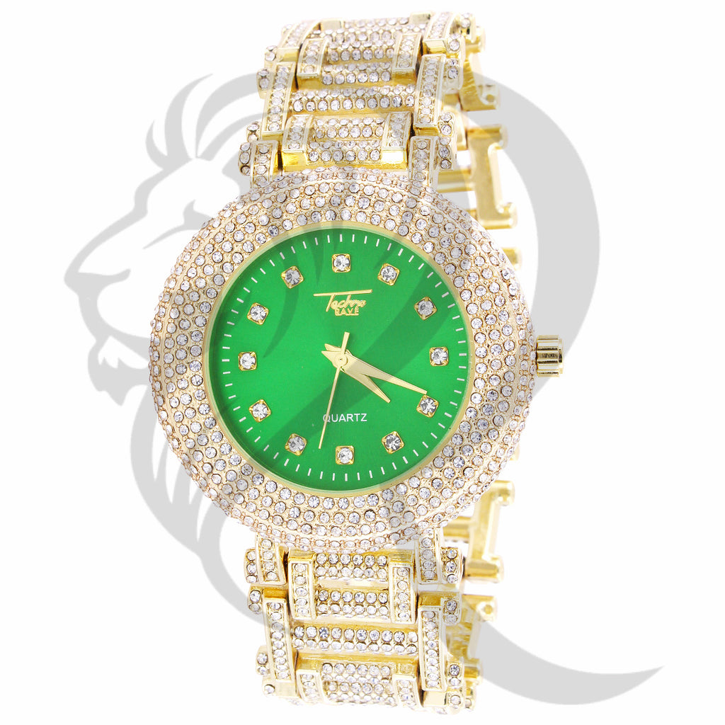 43MM Green Dial Fully IcedOut Metal Techno Pave Men's Watch