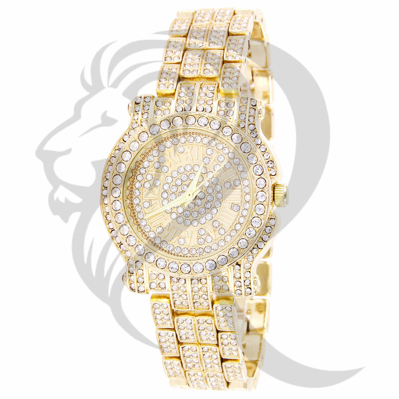 35MM Small Face Roman Dial IcedOut Techno Pave Ladies Watch