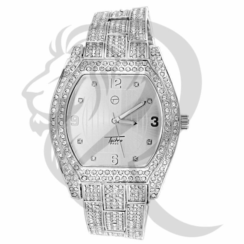 46MM Oval Face White IcedOut Techno Pave Watch