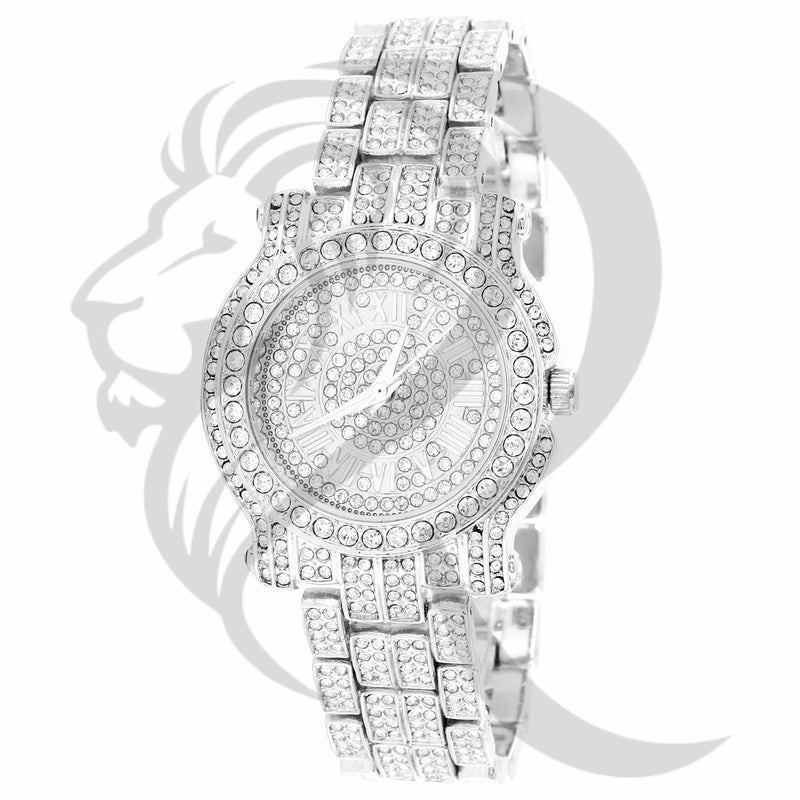 35MM Solitaire IcedOut Small Face Ladies Techno Pave Metal Watch