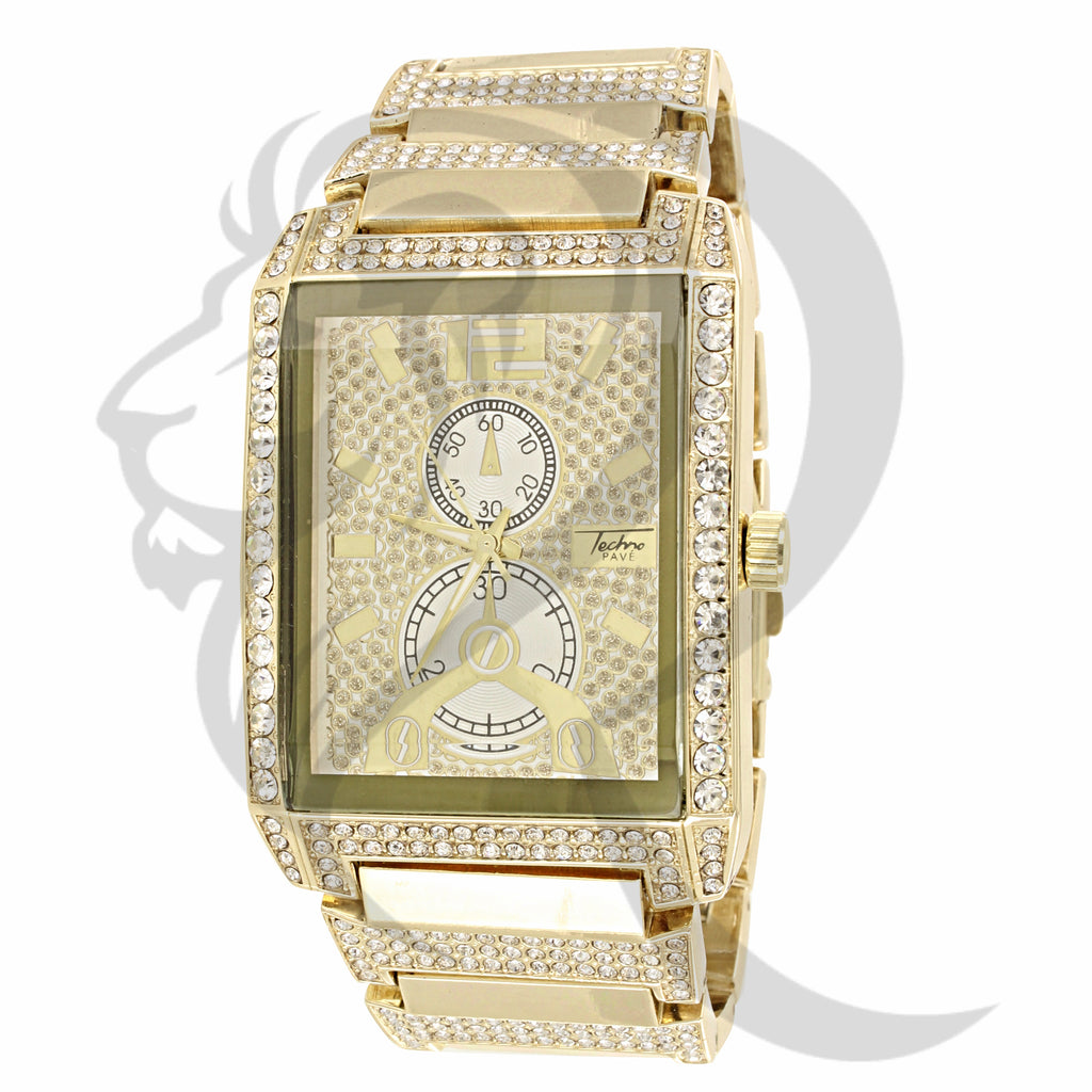 38MM Yellow Tone IcedOut Techno Pave Watch