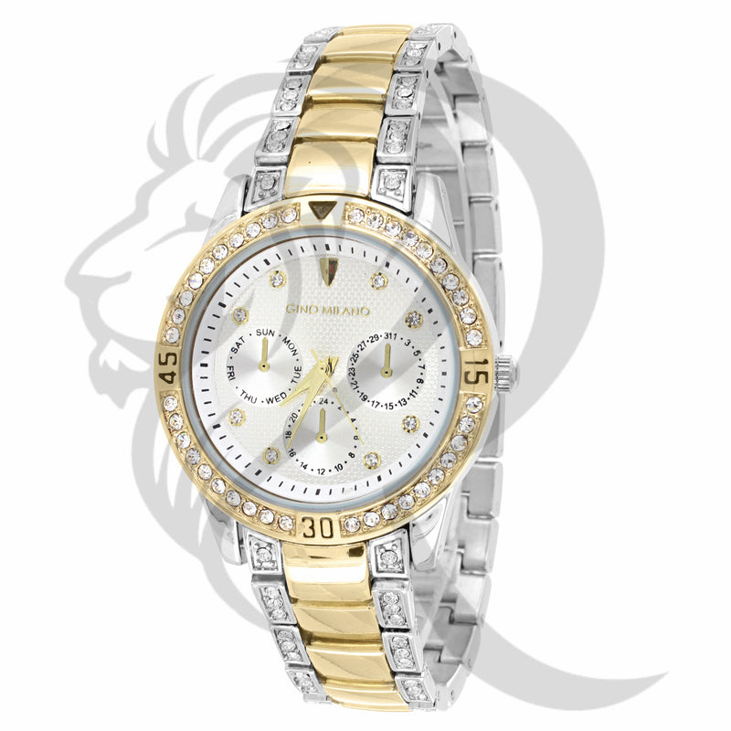 Yellow & Gold 36MM IcedOut Ladies Watch