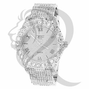 44MM White Gold Finish IcedOut Round Face Men's Watch