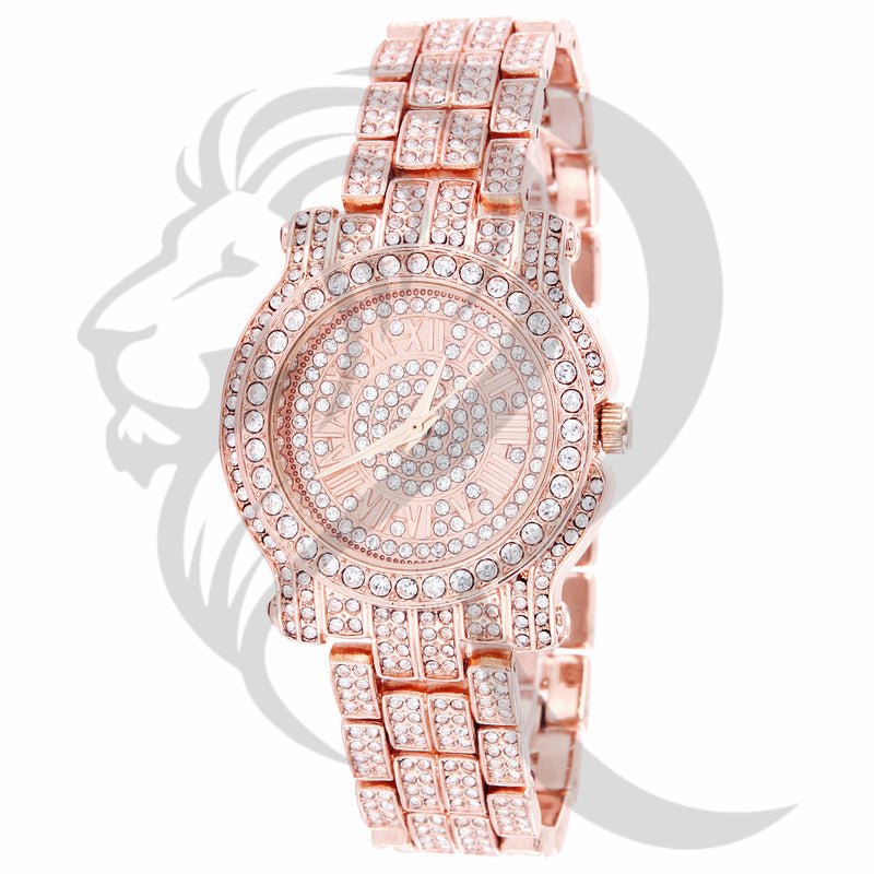 35MM Solitaire Round Face IcedOut Rose Gold Tone Ladies Watch