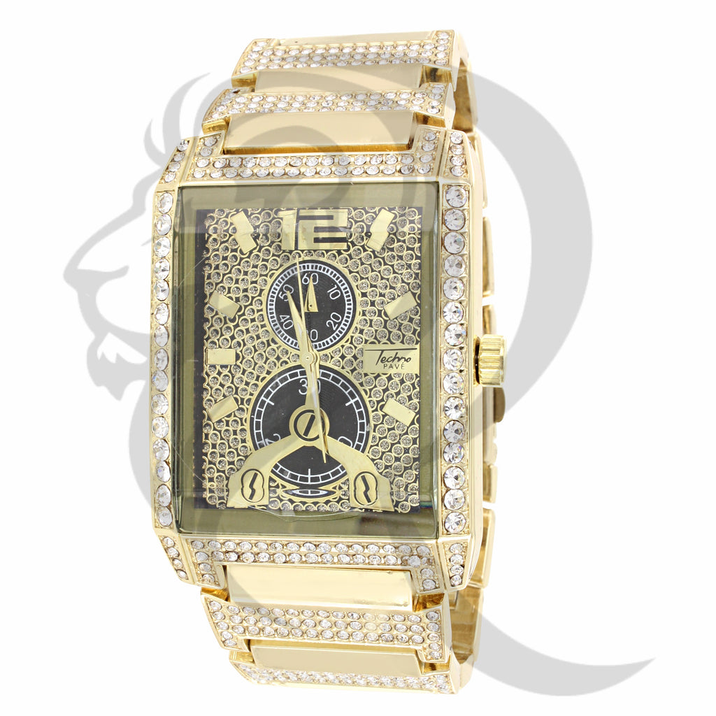 Black & Gold Dial IcedOut 38MM Watch