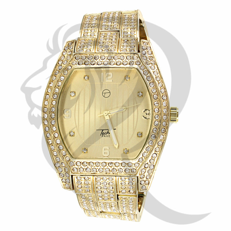 Yellow Face 46MM Oval Shape IcedOut Men's Watch
