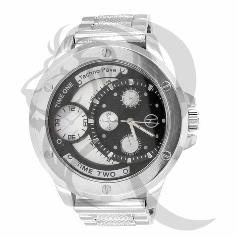 Black Dial White Gold Finish 55MM Watch