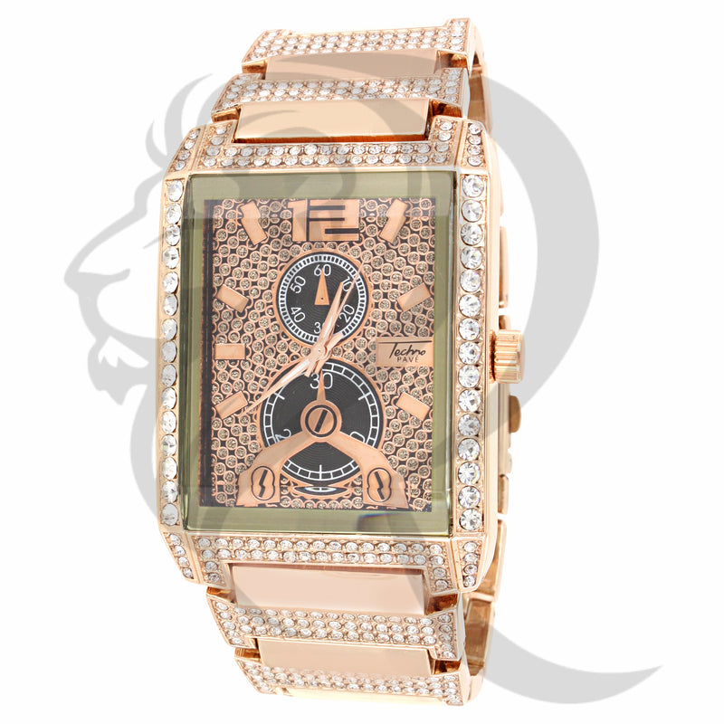 Rose Gold IcedOut 38MM Techno Pave Watch