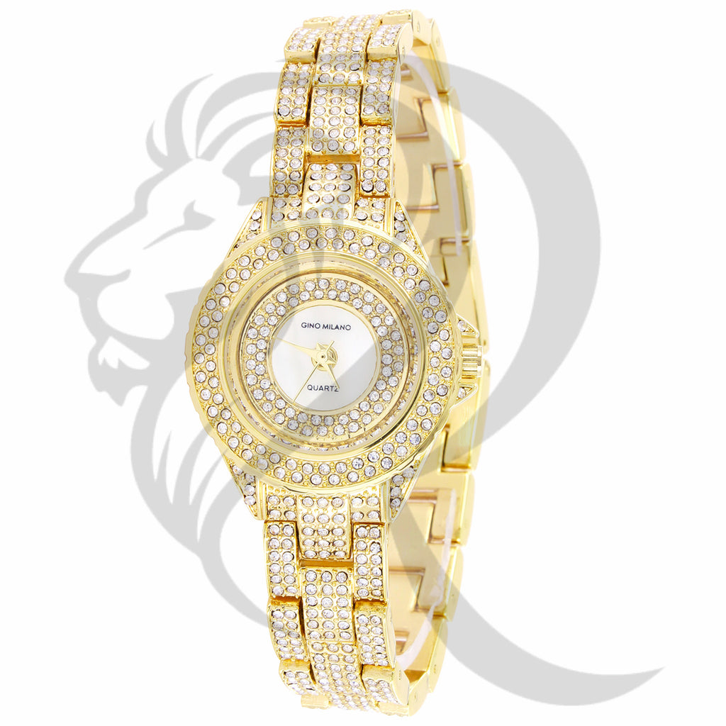 31MM Round Face Plain Dial IcedOut Gino Milano Ladies Watch