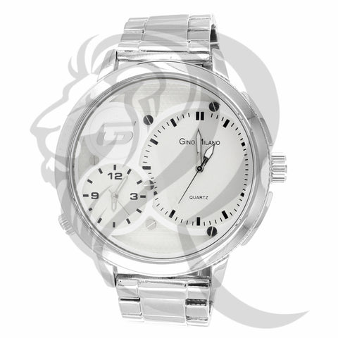 Plain White 53MM Two Dial Metal Watch