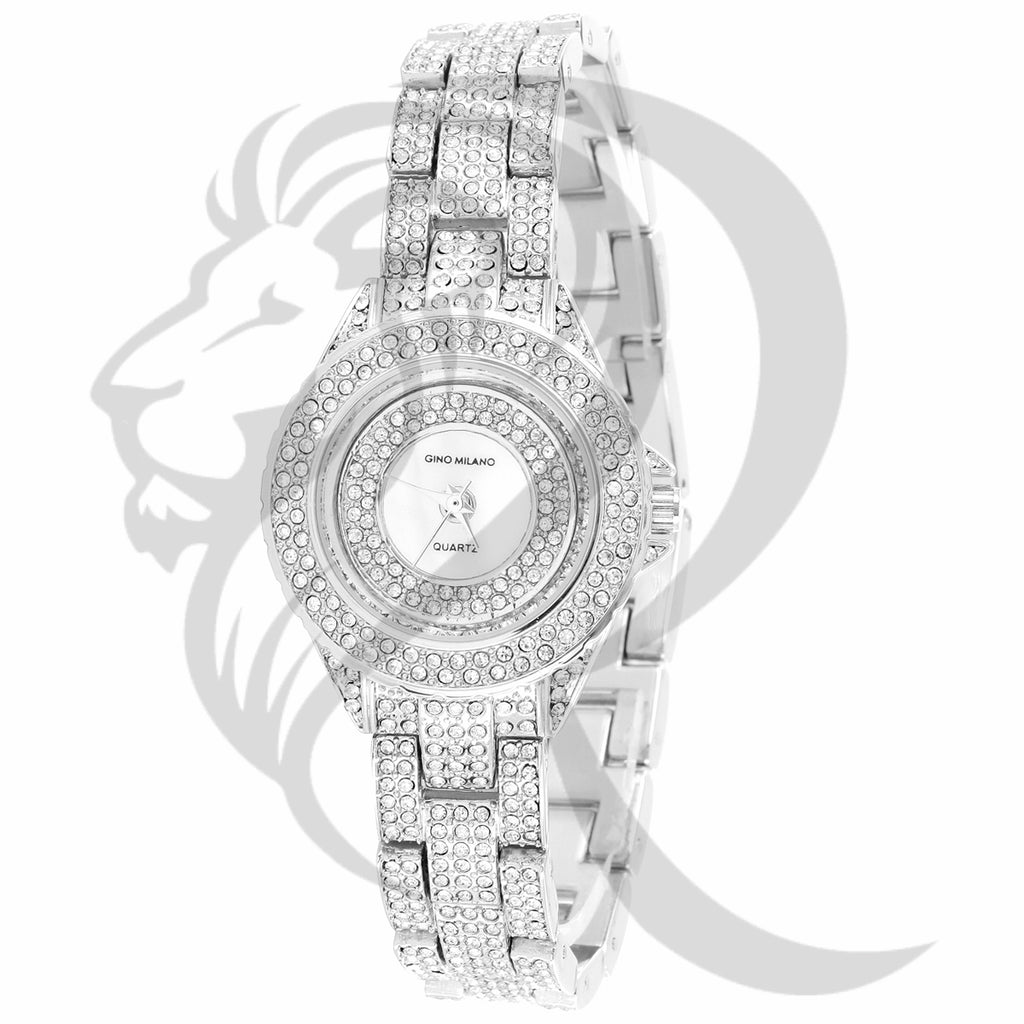 31MM Small Round Face IcedOut Ladies Gino Milano Metal Watch