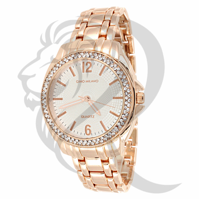 White Dial Rose Gold Tone Watch